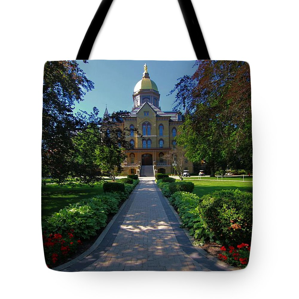 Summer On Notre Dame Campus Tote Bag featuring the photograph Summer On Notre Dame Campus by Dan Sproul