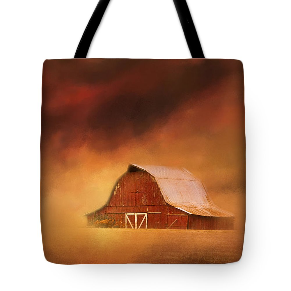Jai Johnson Tote Bag featuring the photograph Summer Storm At The Barn by Jai Johnson