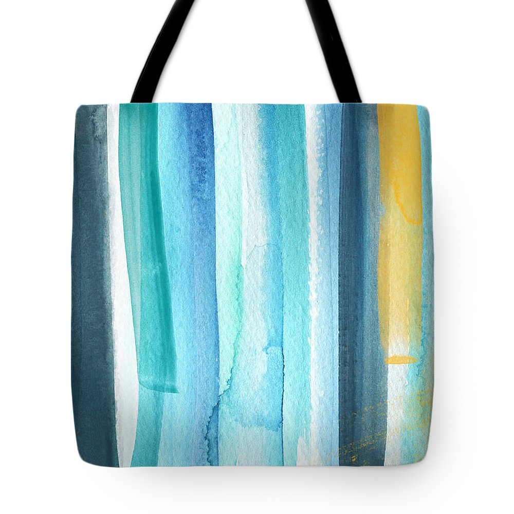 Water Tote Bag featuring the painting Summer Surf- Abstract Painting by Linda Woods