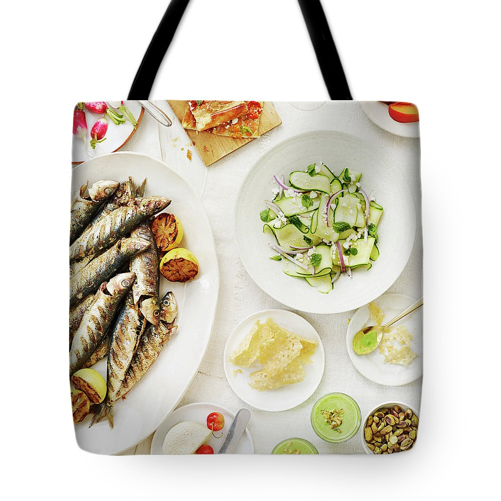 Cherry Tote Bag featuring the photograph Summer Table Spread by Alexandra Grablewski
