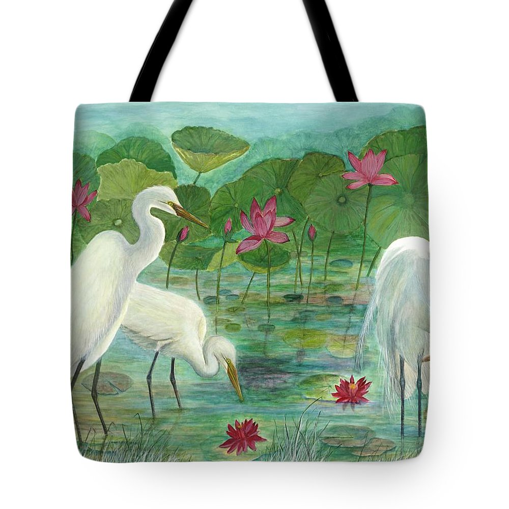 Lily Pads; Egrets; Low Country Tote Bag featuring the painting Summer Trilogy by Ben Kiger