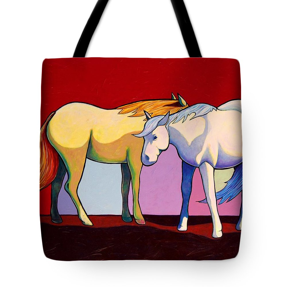 Wildlife Tote Bag featuring the painting Summer Winds - Mustangs by Joe Triano