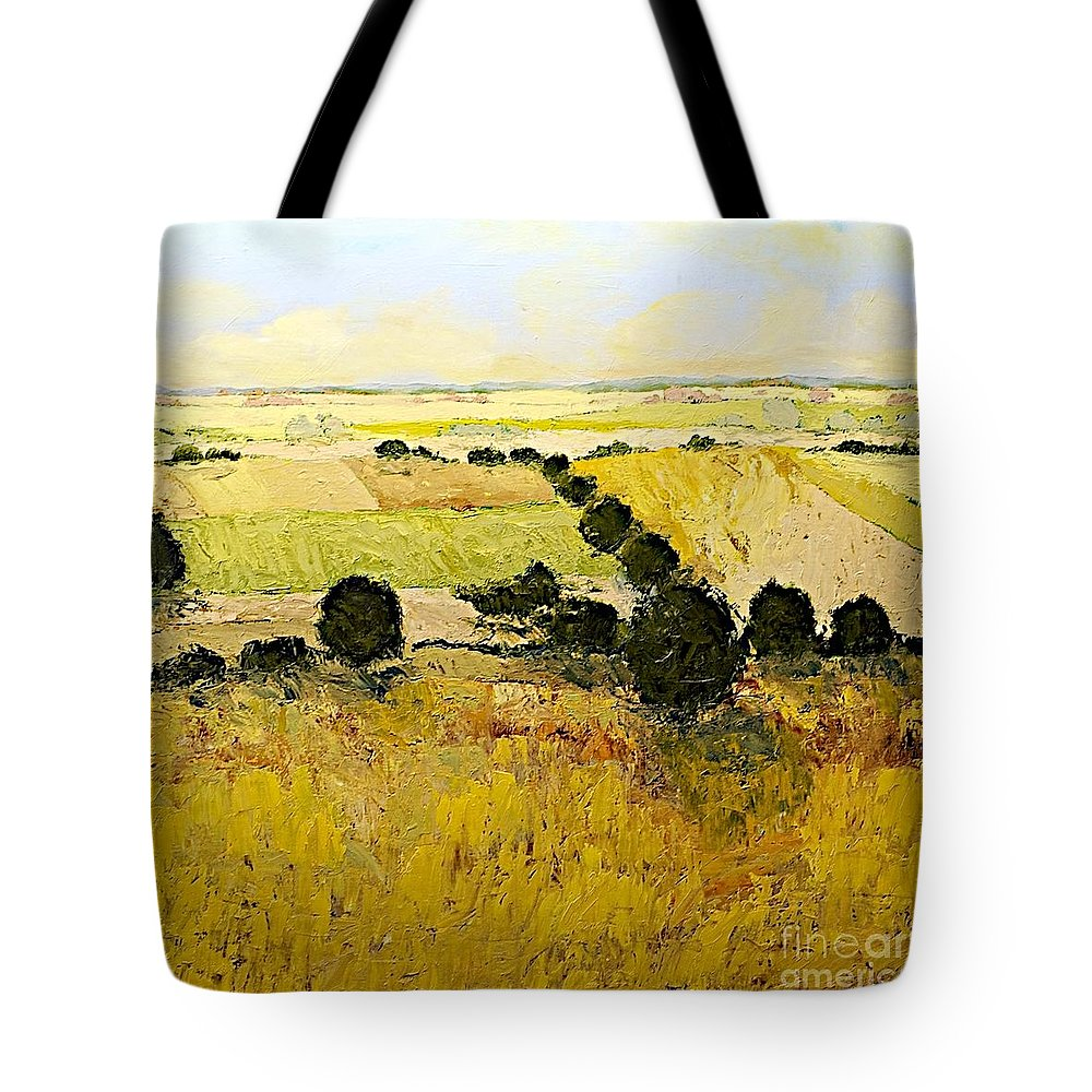 Landscape Tote Bag featuring the painting Summers End by Allan P Friedlander