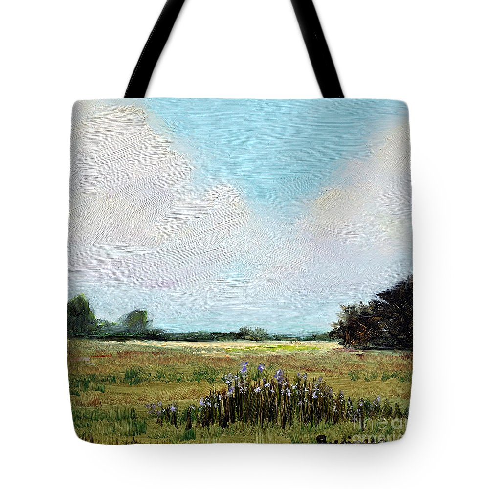 Oil.oil Painting Tote Bag featuring the painting Summer's End by Cindy Roesinger