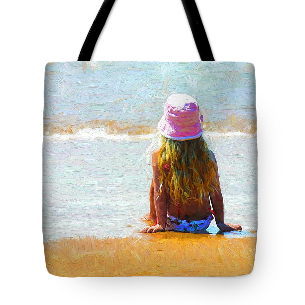 Little Girl On Beach Tote Bag featuring the photograph Summertime by Sheila Smart Fine Art Photography