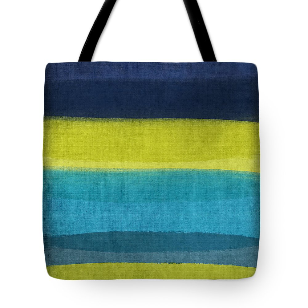 Abstract Tote Bag featuring the painting Sun and Surf by Linda Woods