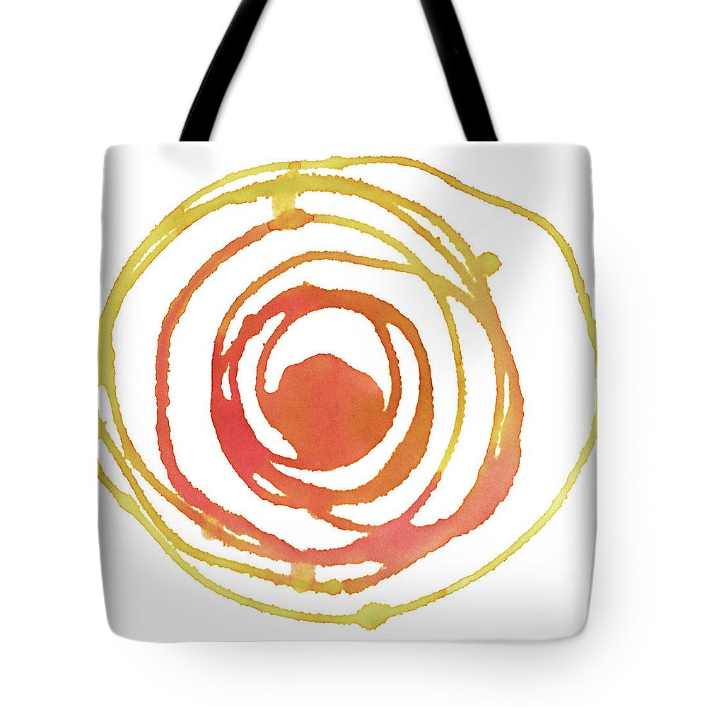 Watercolor Painting Tote Bag featuring the digital art Sun Circle Abstract Water Color Paint by 4khz