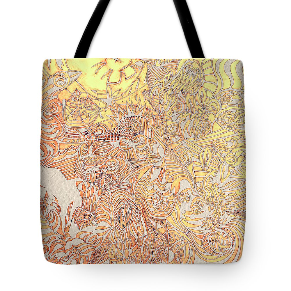 Abstract Seacorc Tote Bag featuring the painting Sun Cow by Sean Corcoran