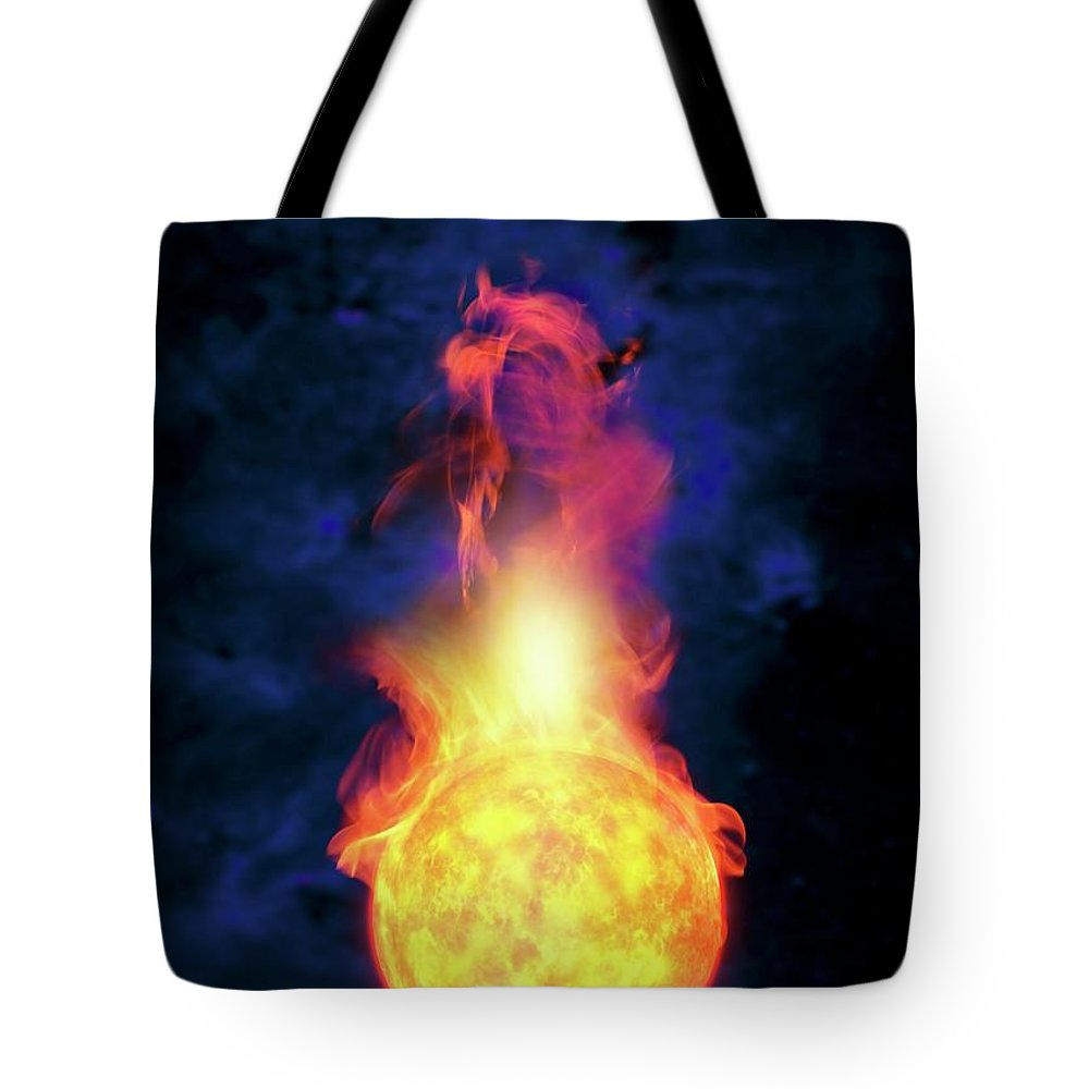 Solar System Tote Bag featuring the digital art Sun Engulfing The Earth, Artwork by Victor Habbick Visions