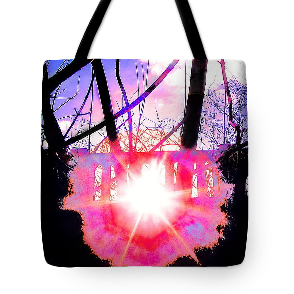 Sunburst Corona Colorfully Manipulated To A Brilliant Effect Seen Through Railing Slats Tote Bag featuring the photograph Sun Slips Through by Expressionistart studio Priscilla Batzell