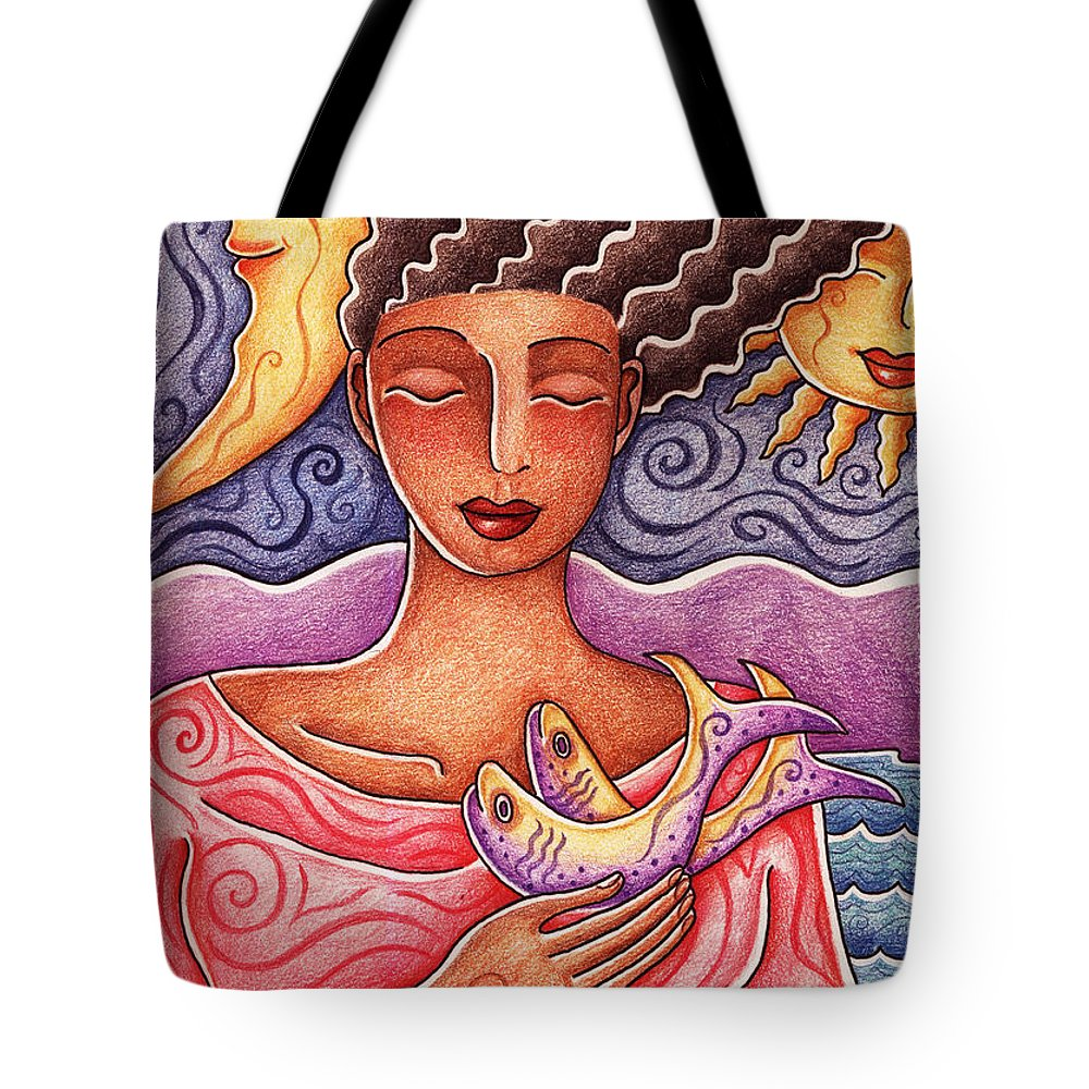 Woman Tote Bag featuring the drawing Sun Fish Moon by Elaine Jackson