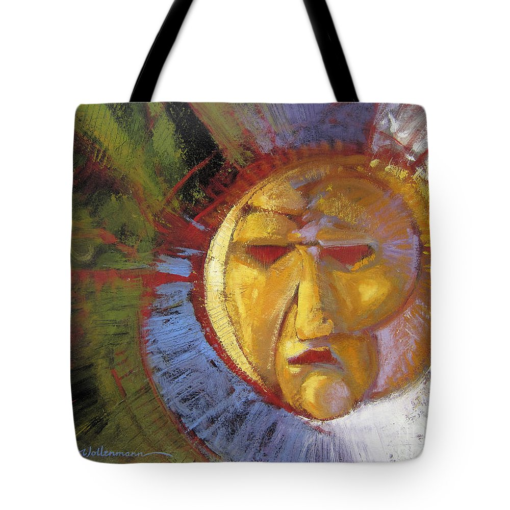 Mask Tote Bag featuring the painting Sun Mask by Randy Wollenmann