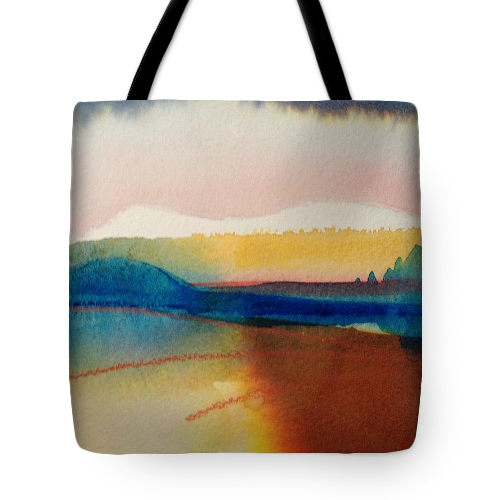 Abstract Tote Bag featuring the painting Sun Mountain For Jennifer B by Karen Lindeman
