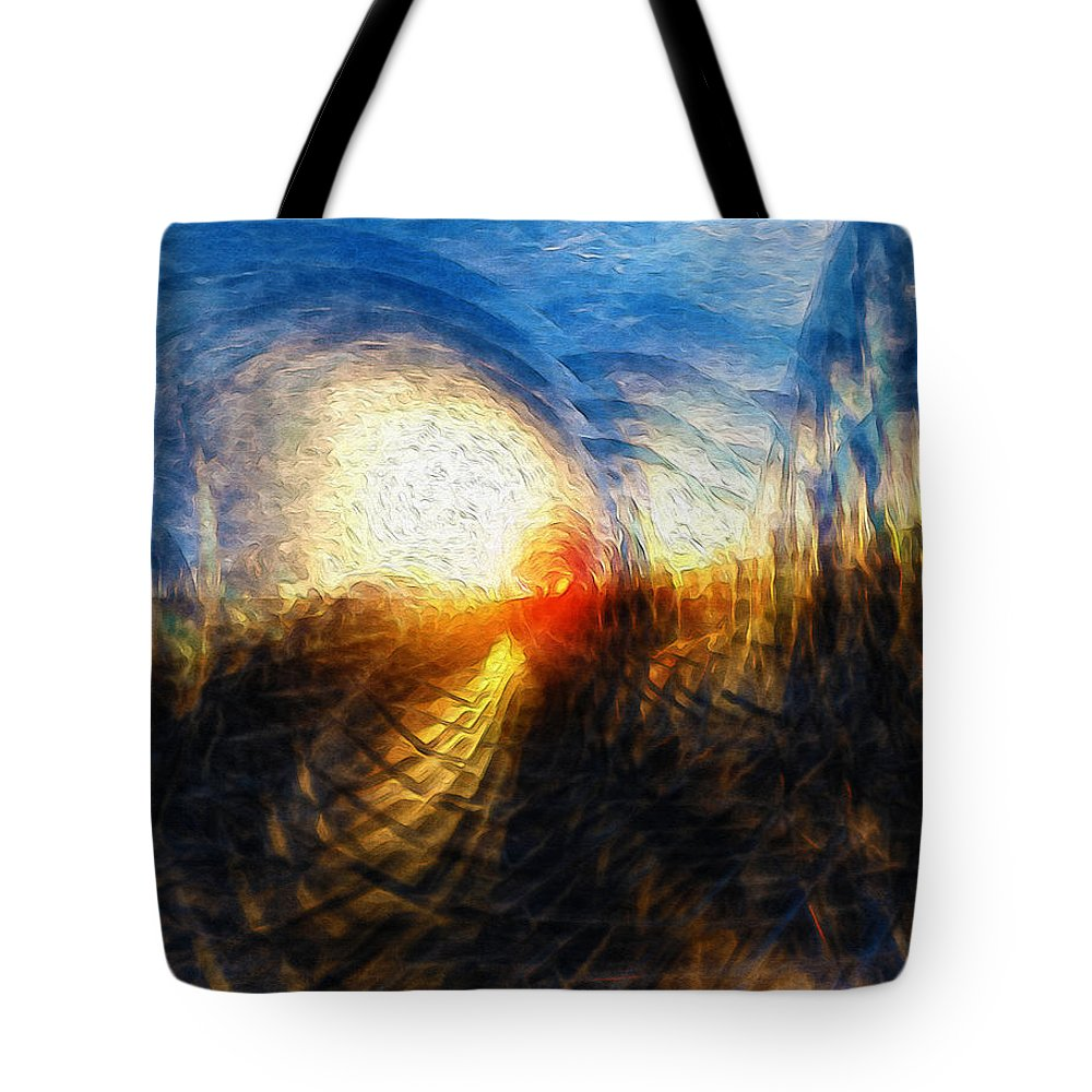 Sun Tote Bag featuring the digital art Sun On The Horizon by Phil Perkins