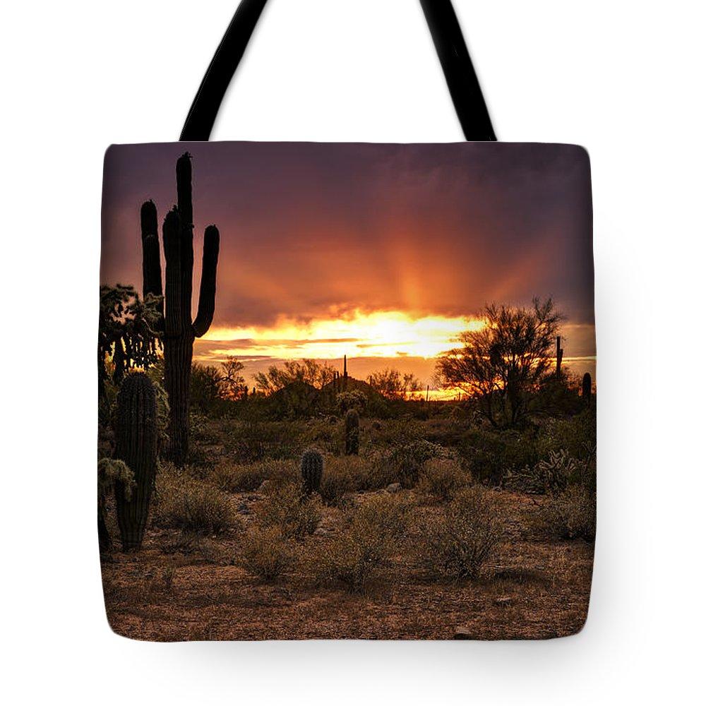 Saguaro Sunset Tote Bag featuring the photograph Sun Rays Over The Sonoran Desert by Saija Lehtonen