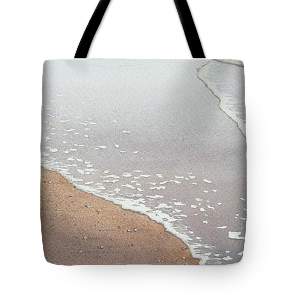 Watercolor Tote Bag featuring the painting Sun Sand And Sea by Karen Richardson