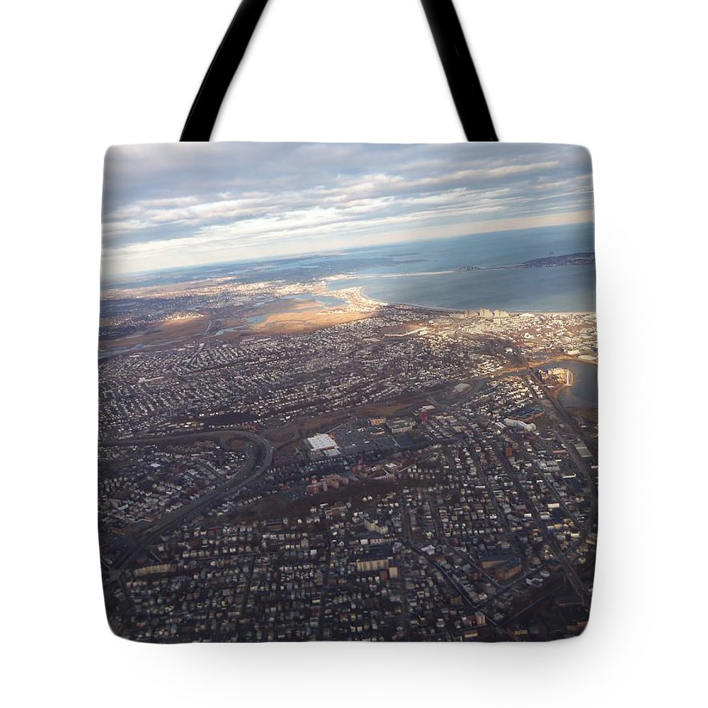 Airplane Tote Bag featuring the photograph Sun Stained City by Two Bridges North