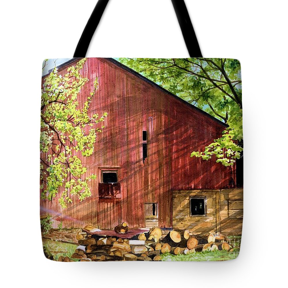 Watercolor Barn Tote Bag featuring the painting Sun Stroked by Barbara Jewell