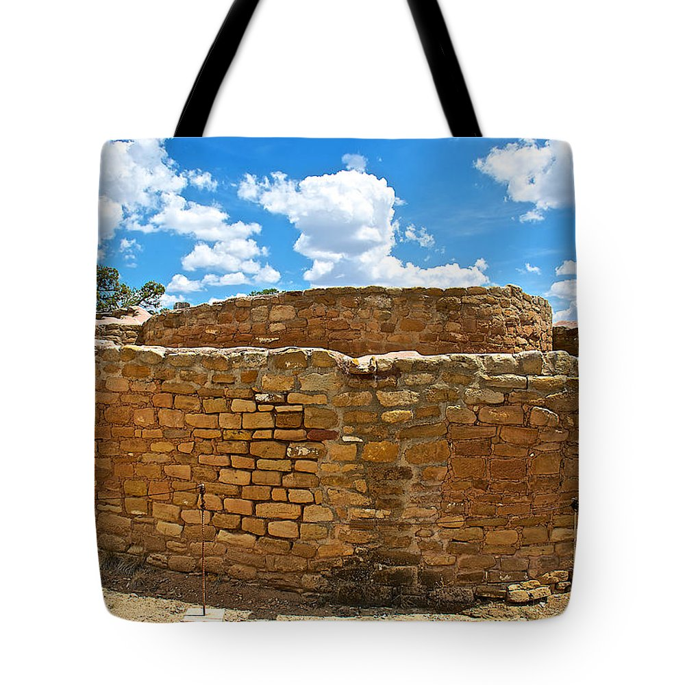 Sun Temple-1250 Ad In Mesa Verde National Park Tote Bag featuring the photograph Sun Temple-1250 Ad In Mesa Verde National Park-colorado by Ruth Hager