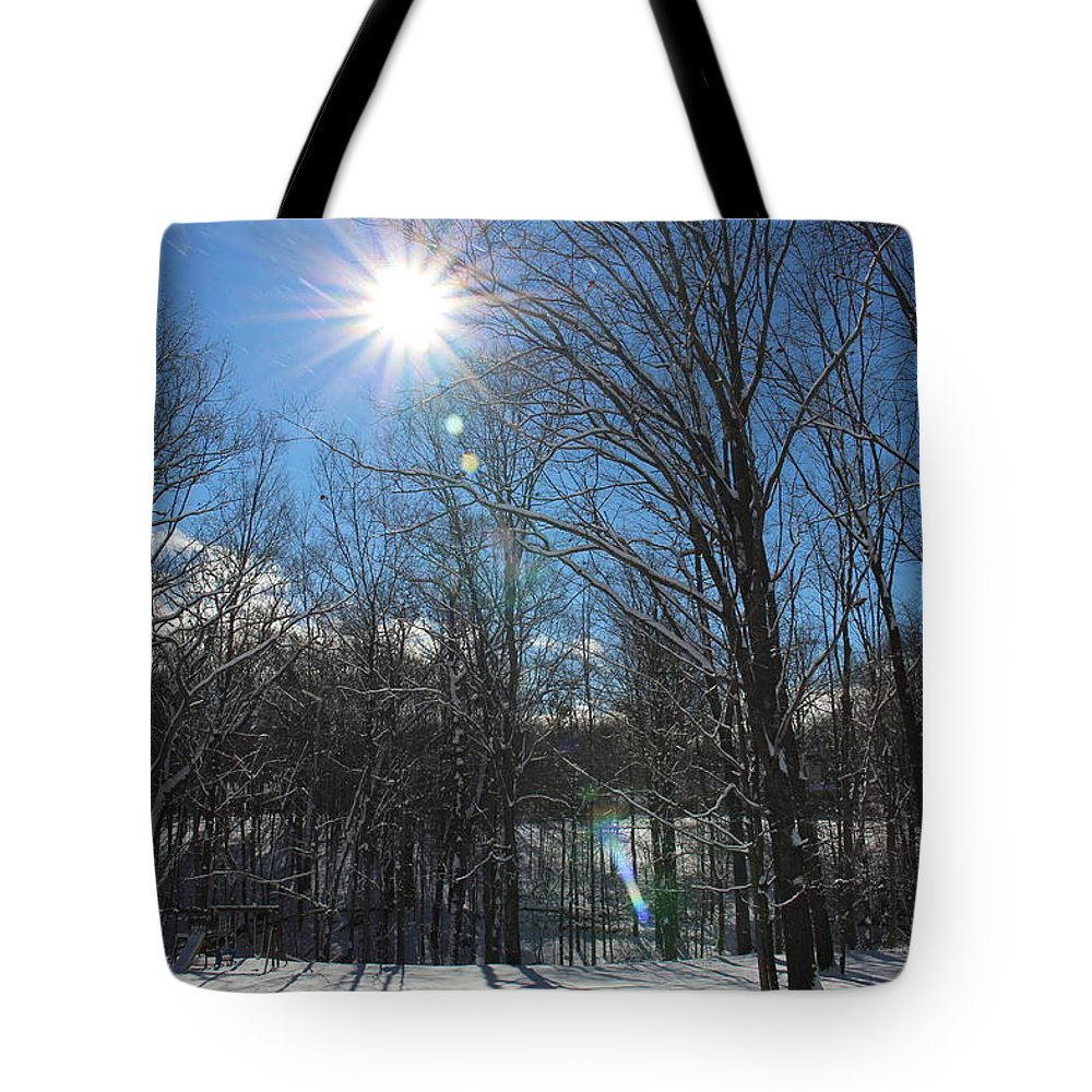 Sun Trees Landscape Snow Sky Nature Winter Tote Bag featuring the photograph Sun Though The Trees by Coralynn Gutierrez
