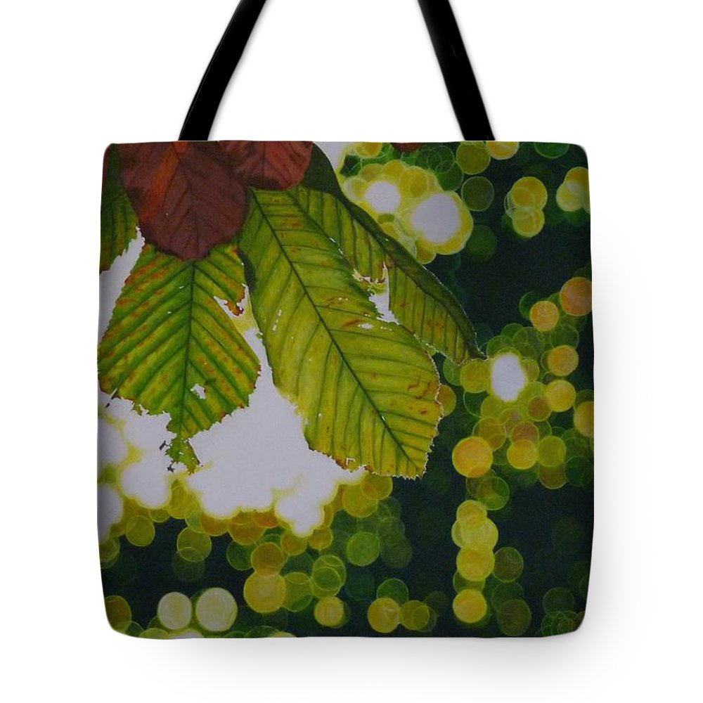 Horse Chestnut Tote Bag featuring the painting Sun Through Horse Chestnut Leaves by Grant Ham