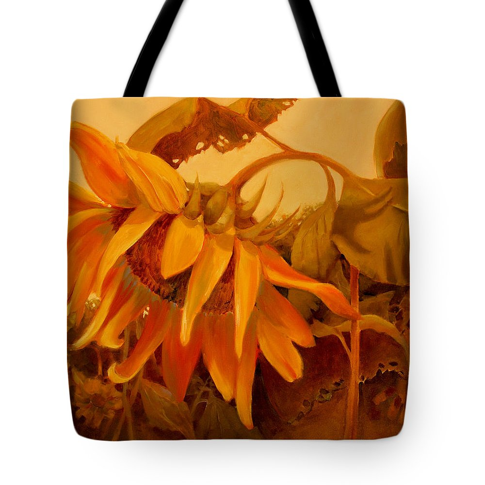 Flower Tote Bag featuring the painting Sundance by Sue Darius
