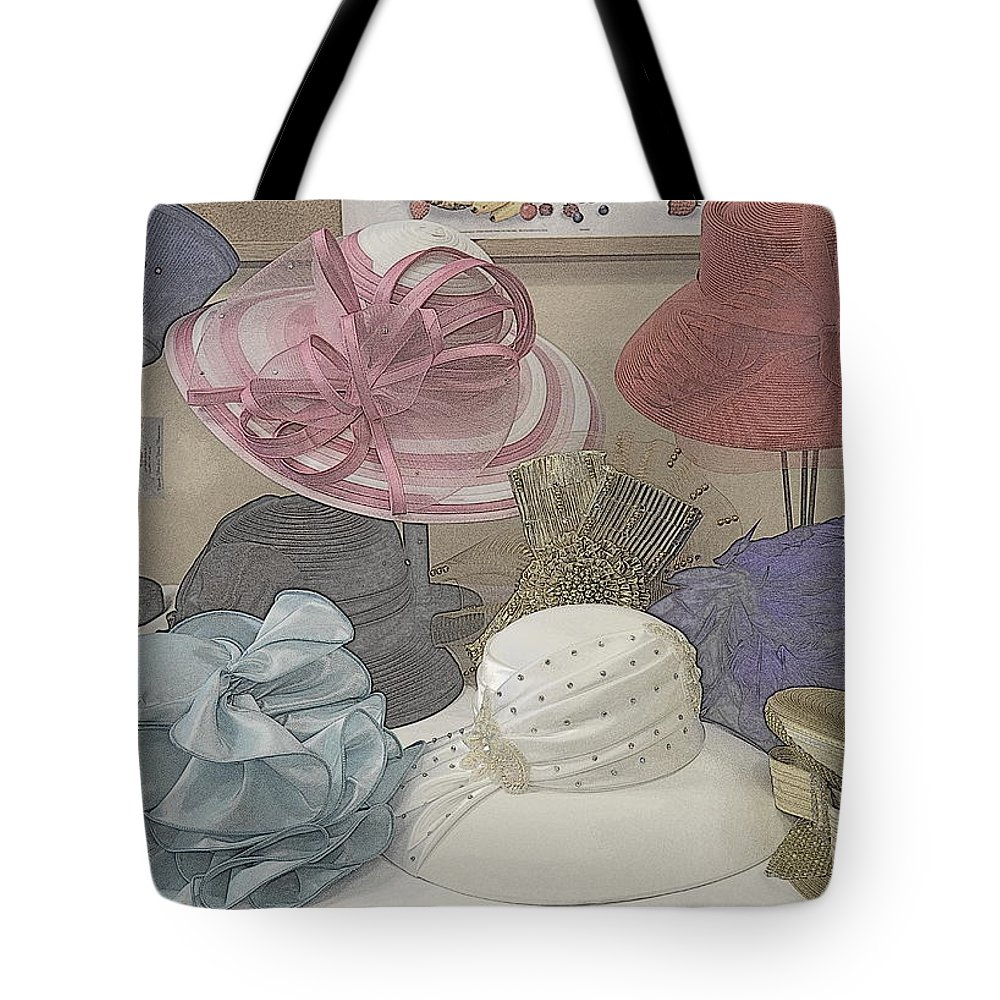 Hats Tote Bag featuring the photograph Sunday Hats For Sale by Kathy Barney
