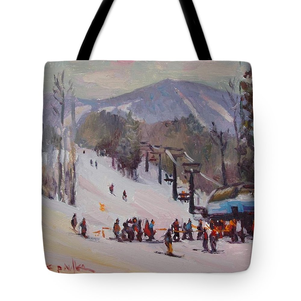 Sunday River Tote Bag featuring the painting Sunday Skiing by Dianne Panarelli Miller