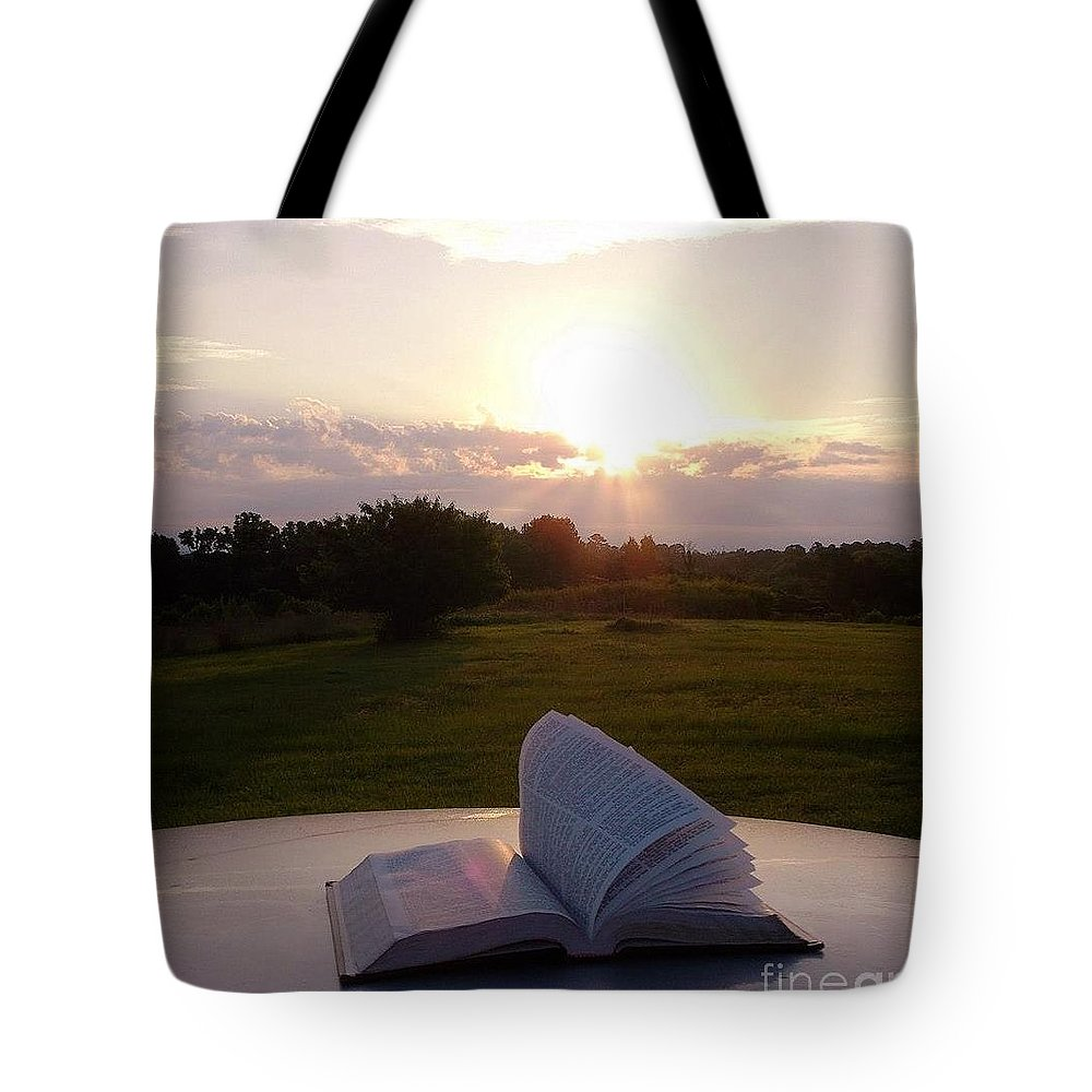 Angels Tote Bag featuring the digital art Sunday Sunrise Bible Study by Matthew Seufer