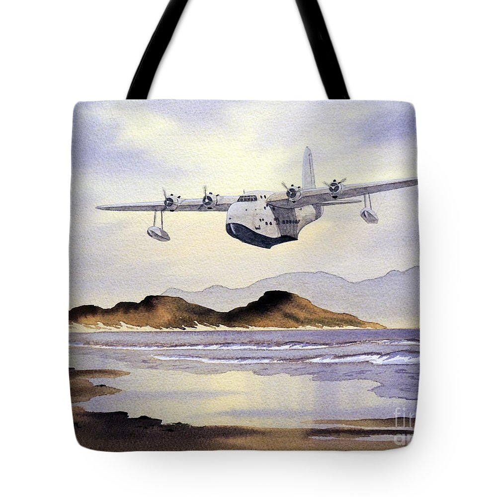 Aircraft Paintings Tote Bag featuring the painting Sunderland Over Scotland by Bill Holkham