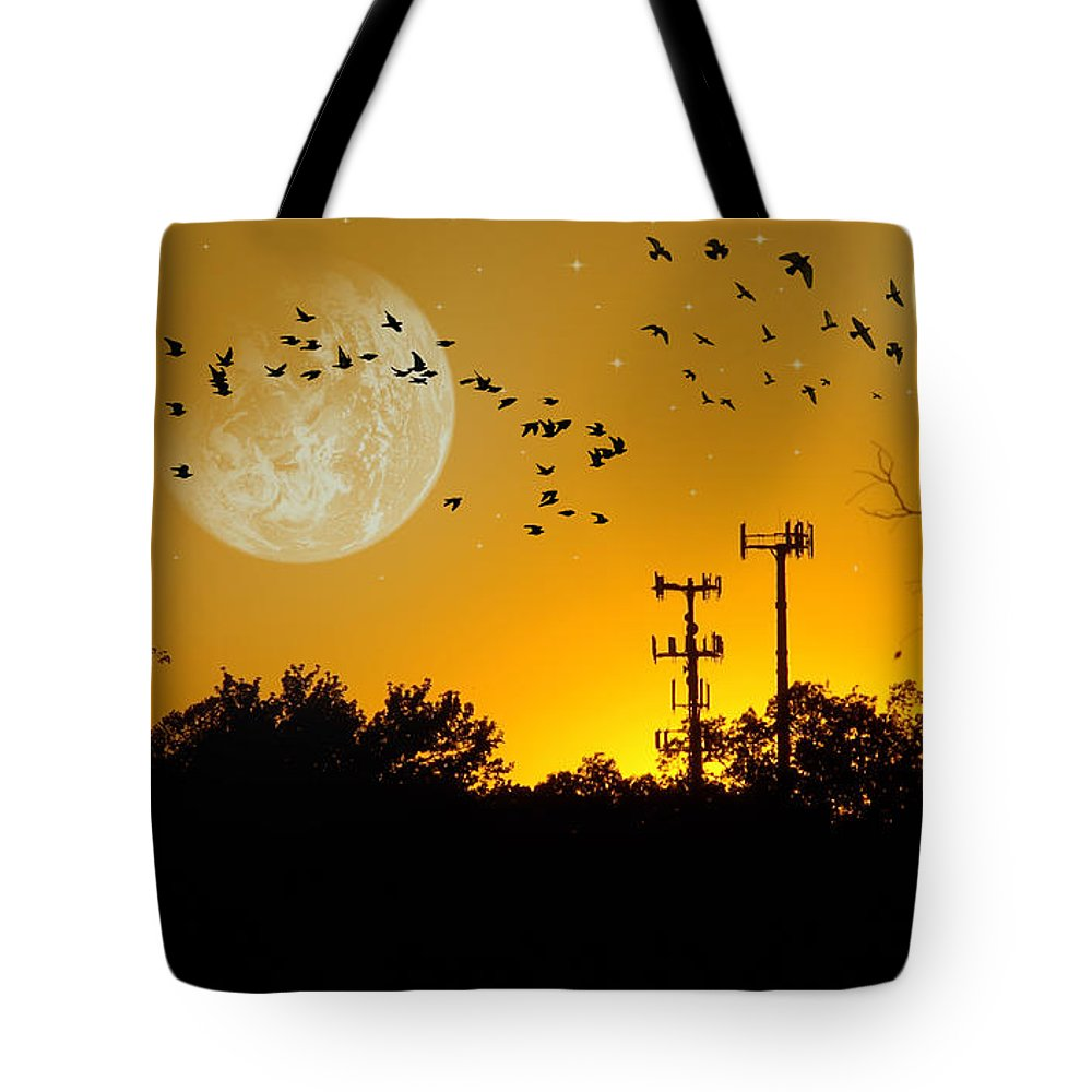 2d Tote Bag featuring the photograph Sundown Fantasy Orange by Brian Wallace