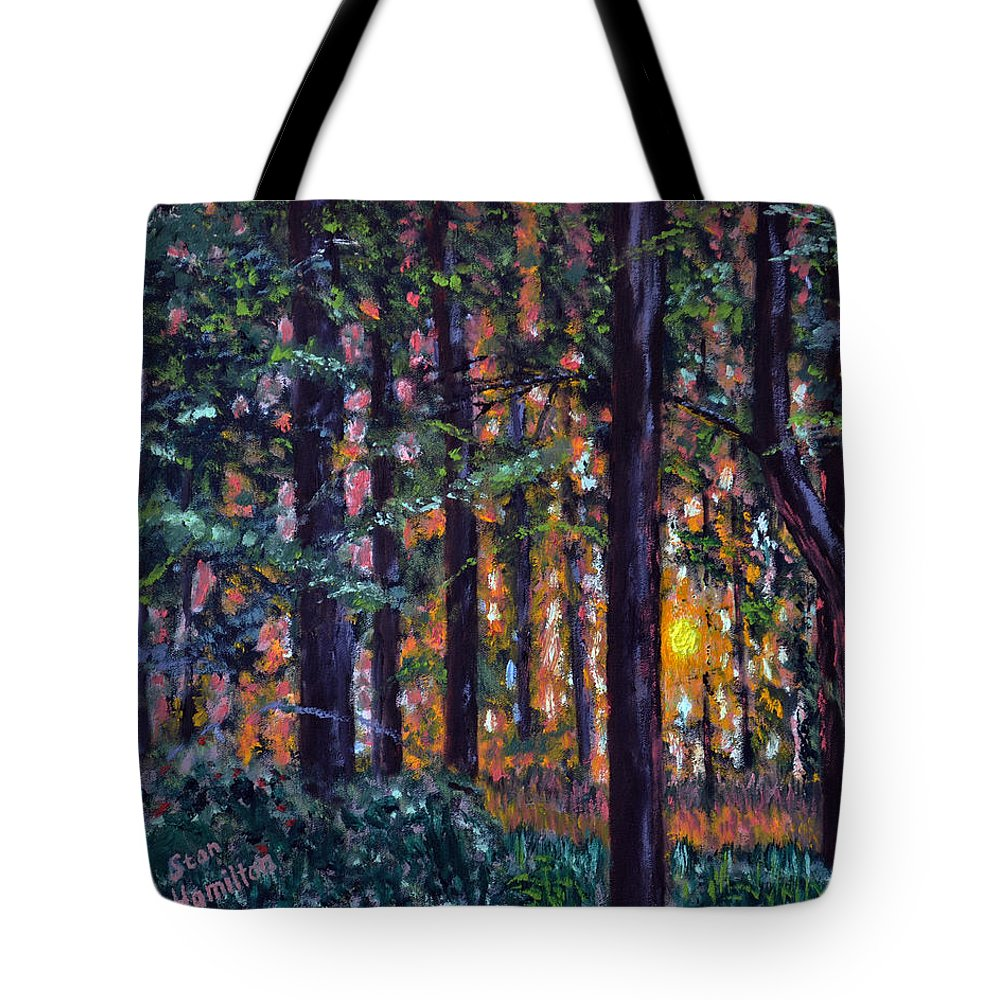 Sundown Tote Bag featuring the painting Sundown In Woods by Stan Hamilton