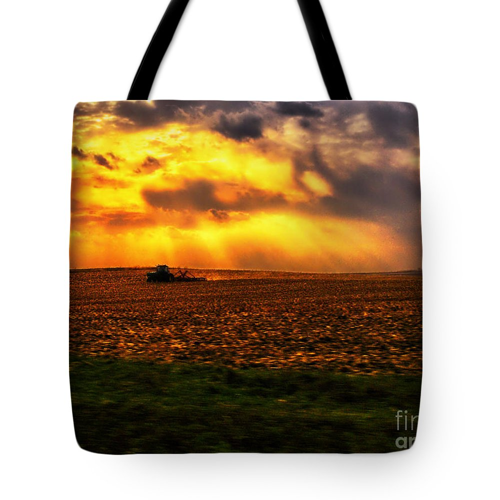 Farming Tote Bag featuring the photograph Sundown On The Working Farmer by Thomas Woolworth