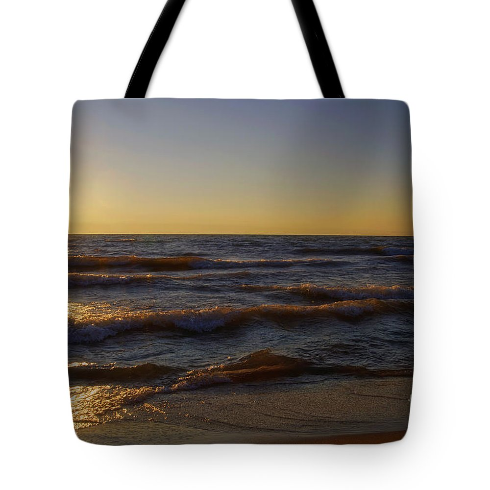 Lake Michigan Tote Bag featuring the photograph Sundown Scintillate On The Waves by Thomas Woolworth