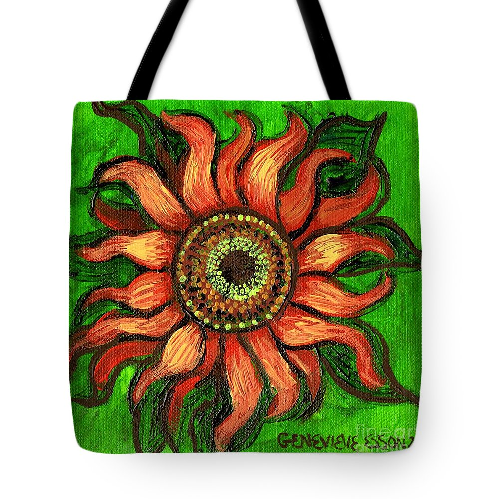 Sunflower Tote Bag featuring the painting Sunflower 1 by Genevieve Esson