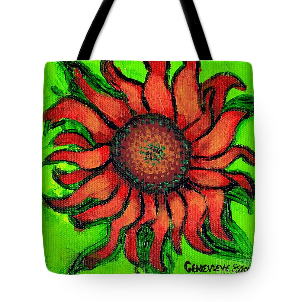 Sunflowr Tote Bag featuring the painting Sunflower 3 by Genevieve Esson