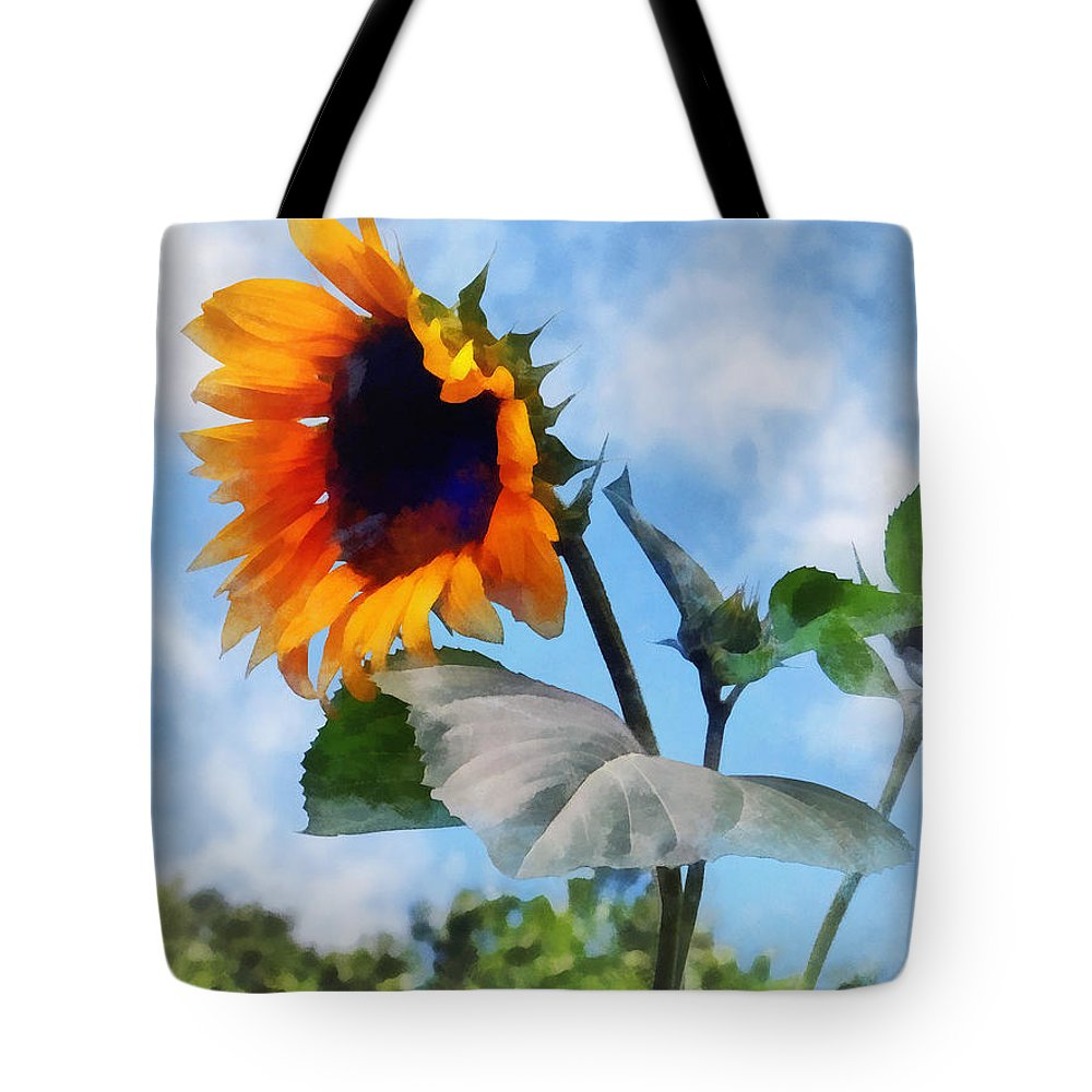 Sunflower Tote Bag featuring the photograph Sunflower Against The Sky by Susan Savad