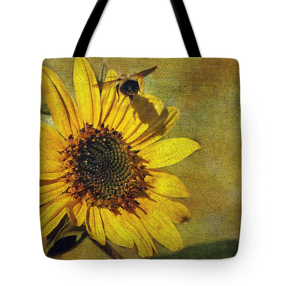Cindi Ressler Tote Bag featuring the photograph Sunflower And Bumble Bee by Cindi Ressler