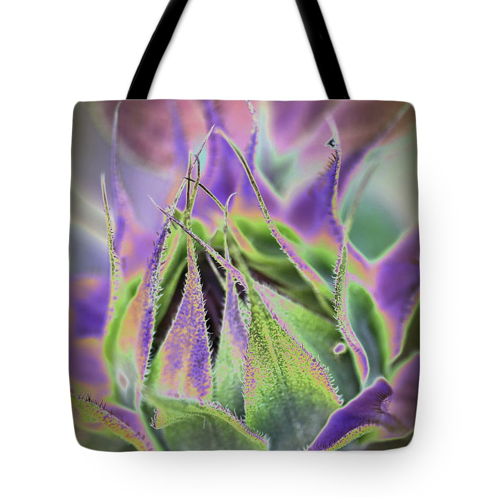 Sunflower Tote Bag featuring the photograph Sunflower Bud Abstract by Christiane Schulze Art And Photography
