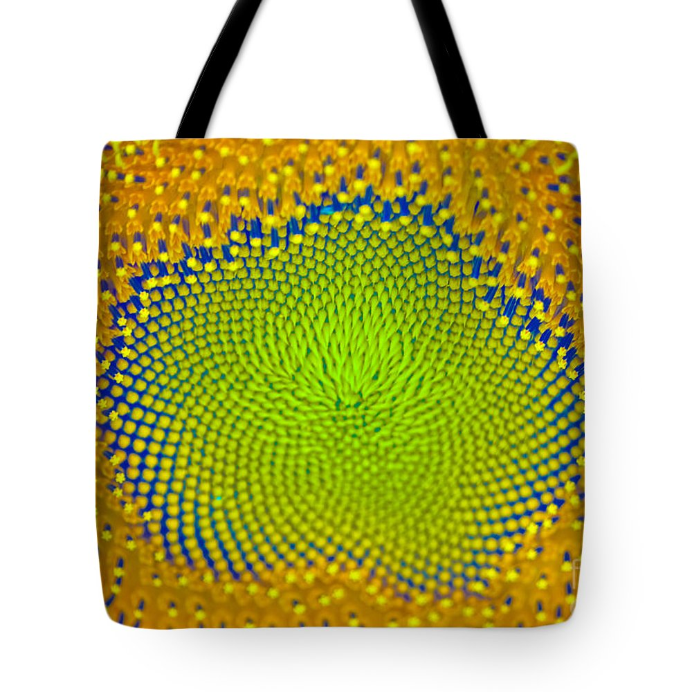 Sunflower Tote Bag featuring the photograph Sunflower Center by Iris Richardson