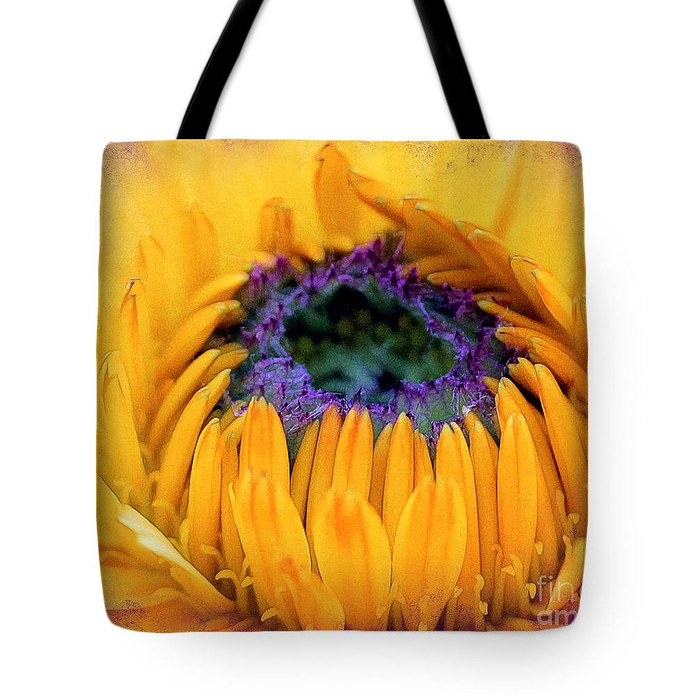 Sunflower Tote Bag featuring the photograph Sunflower Center by Judi Bagwell