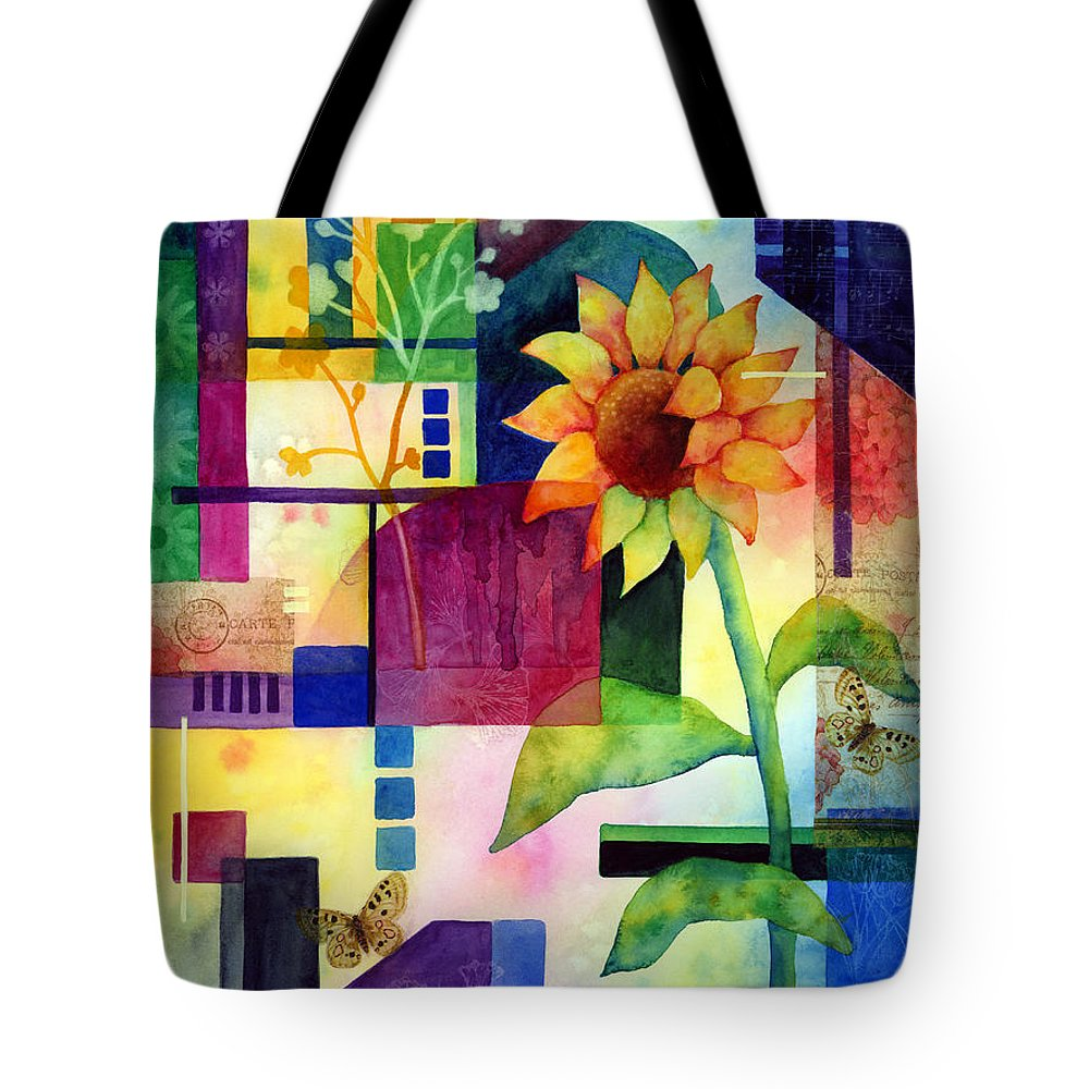 Sunflower Tote Bag featuring the painting Sunflower Collage 2 by Hailey E Herrera