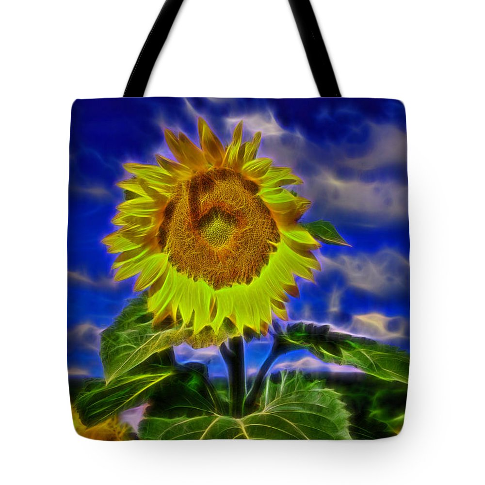 Brodhecker Farm Tote Bag featuring the photograph Sunflower Electrified by Allen Beatty