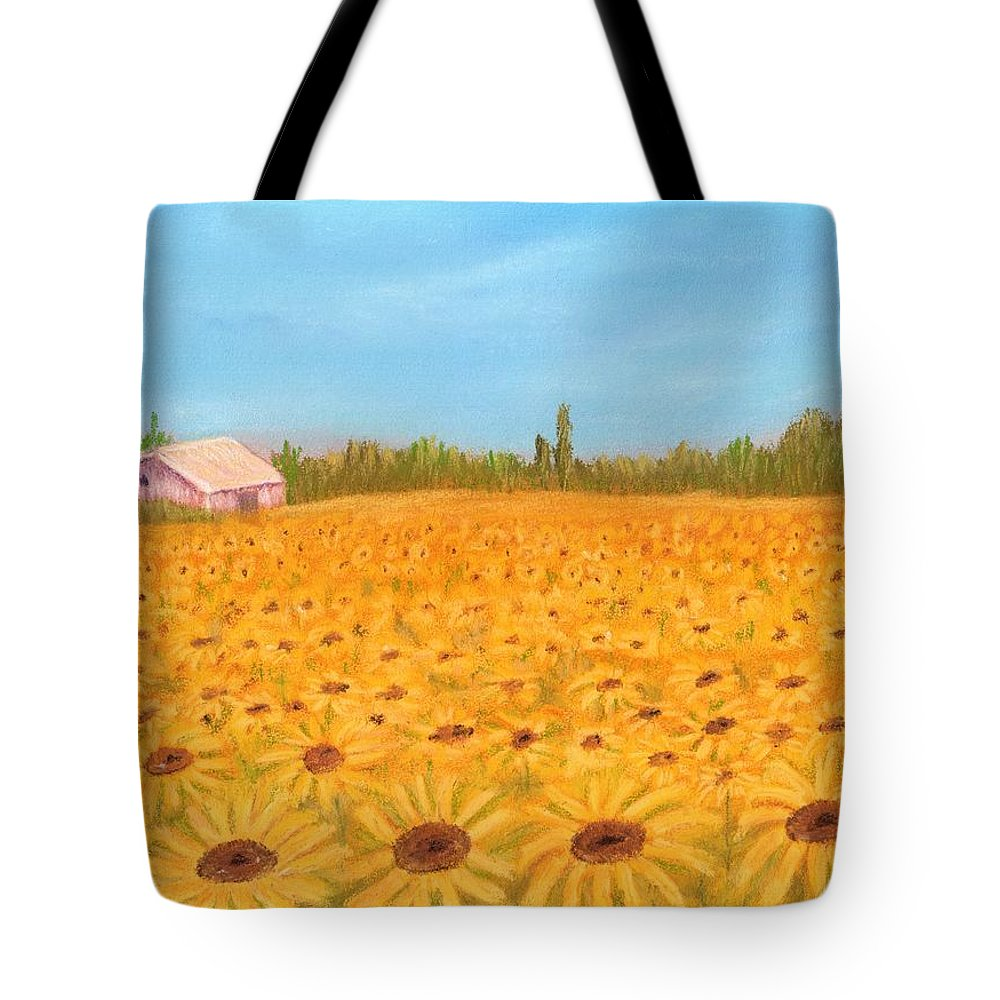 Sunflower Tote Bag featuring the painting Sunflower Field by Anastasiya Malakhova