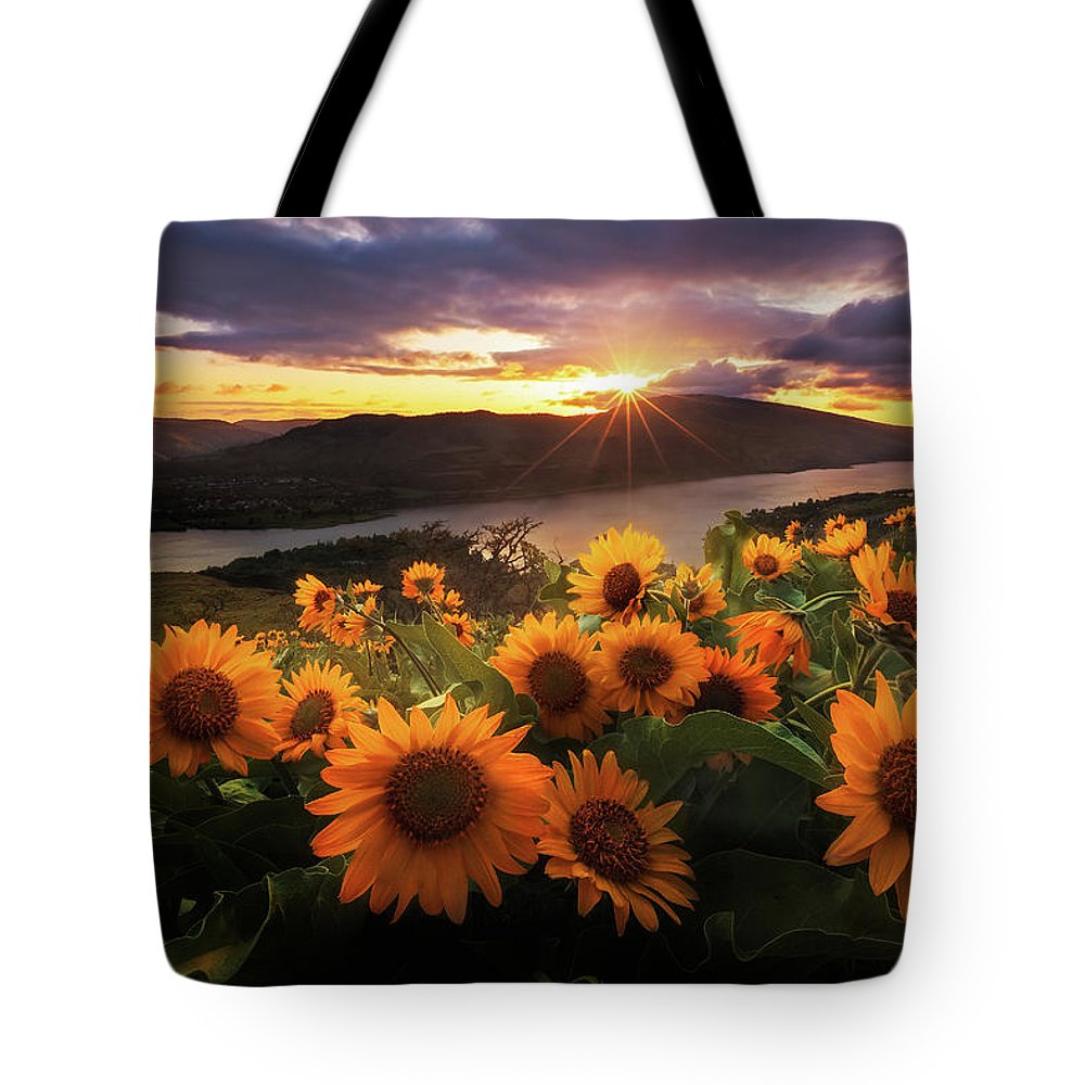 Outdoors Tote Bag featuring the photograph Sunflower Field by Jeremy Cram Photography