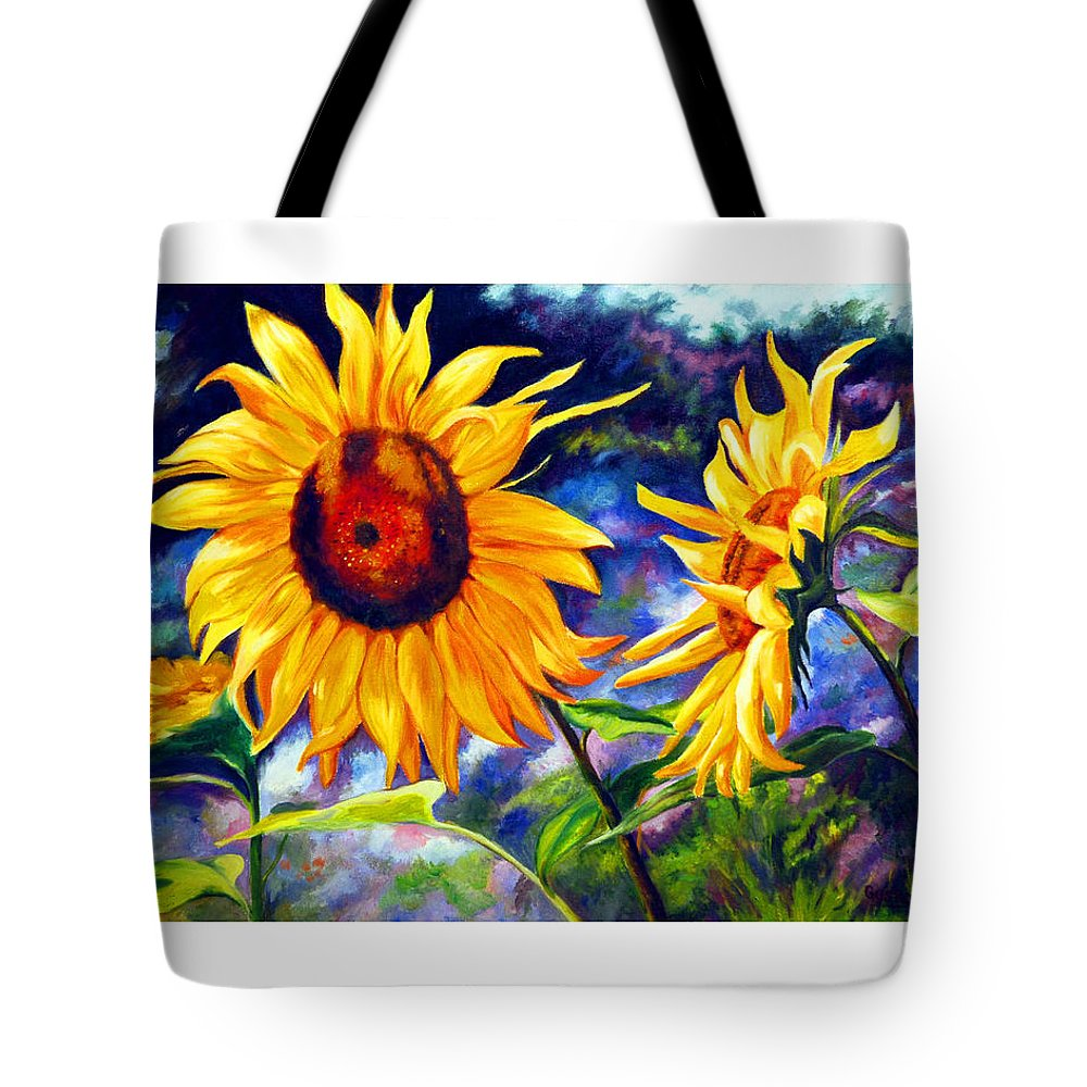Sunflowers Tote Bag featuring the painting Sunflower by Gustavo Oliveira