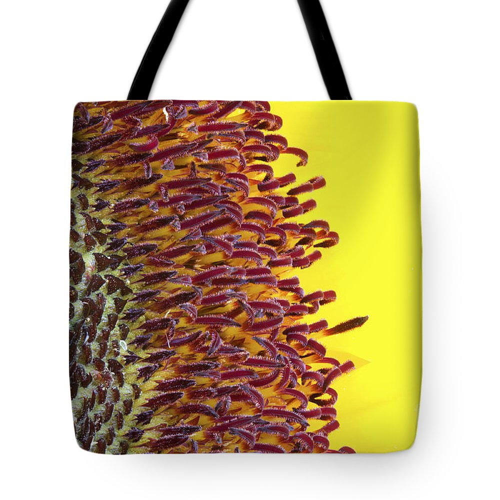 Over Tote Bag featuring the photograph Sunflower Macro Image by Simon Bratt Photography LRPS