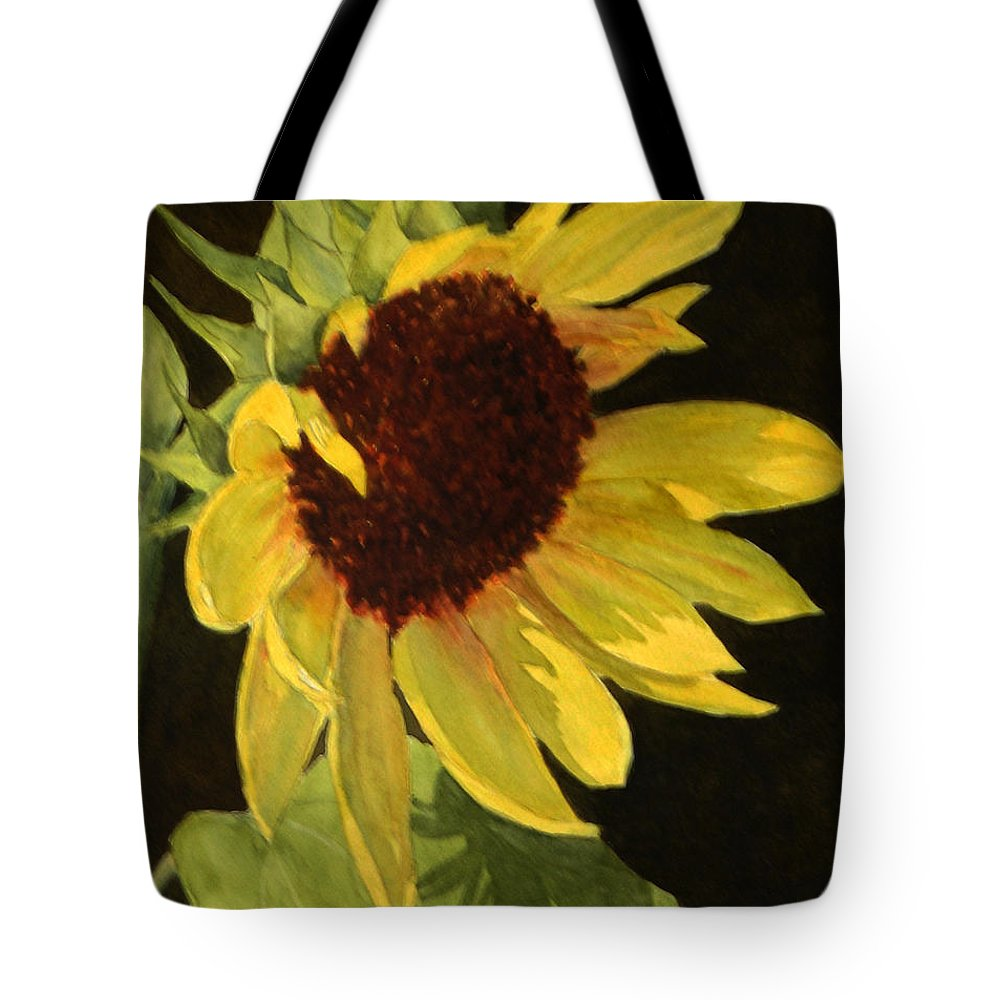 Sunflower Tote Bag featuring the painting Sunflower Smile by Vikki Bouffard