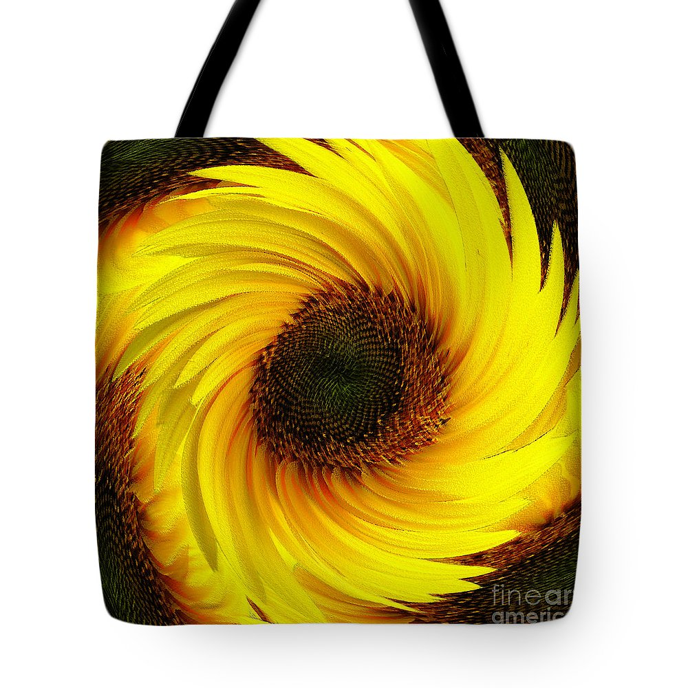 Natural Tote Bag featuring the painting Sunflower Twirl by Neil Finnemore