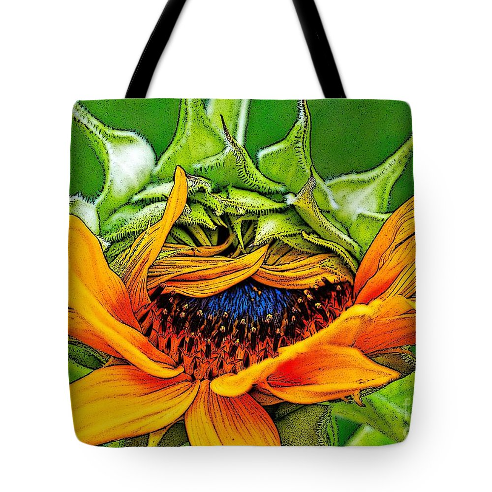 Sunflower Tote Bag featuring the photograph Sunflower Volunteer Half Bloom by Gwyn Newcombe